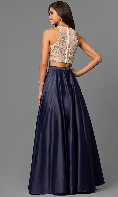 Image of two-piece long satin prom dress with jeweled bodice. Style: DQ-9716 Back Image