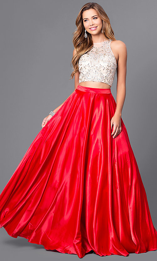 Image of two-piece long satin prom dress with jeweled bodice. Style: DQ-9716 Detail Image 2