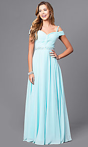 Image of cold-shoulder long prom dress with corset. Style: DQ-9718 Detail Image 3