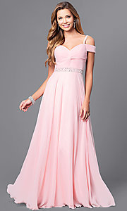 Image of cold-shoulder long prom dress with corset. Style: DQ-9718 Detail Image 1