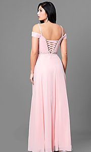 Image of cold-shoulder long prom dress with corset. Style: DQ-9718 Back Image