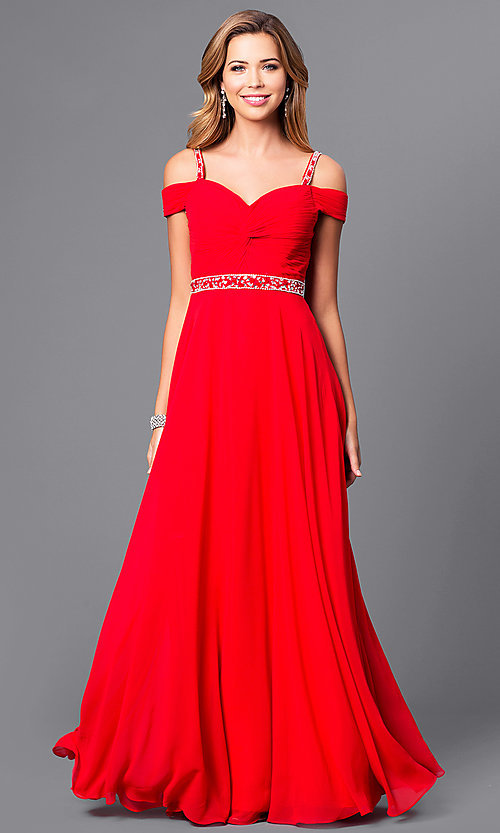 Image of cold-shoulder long prom dress with corset. Style: DQ-9718 Detail Image 2