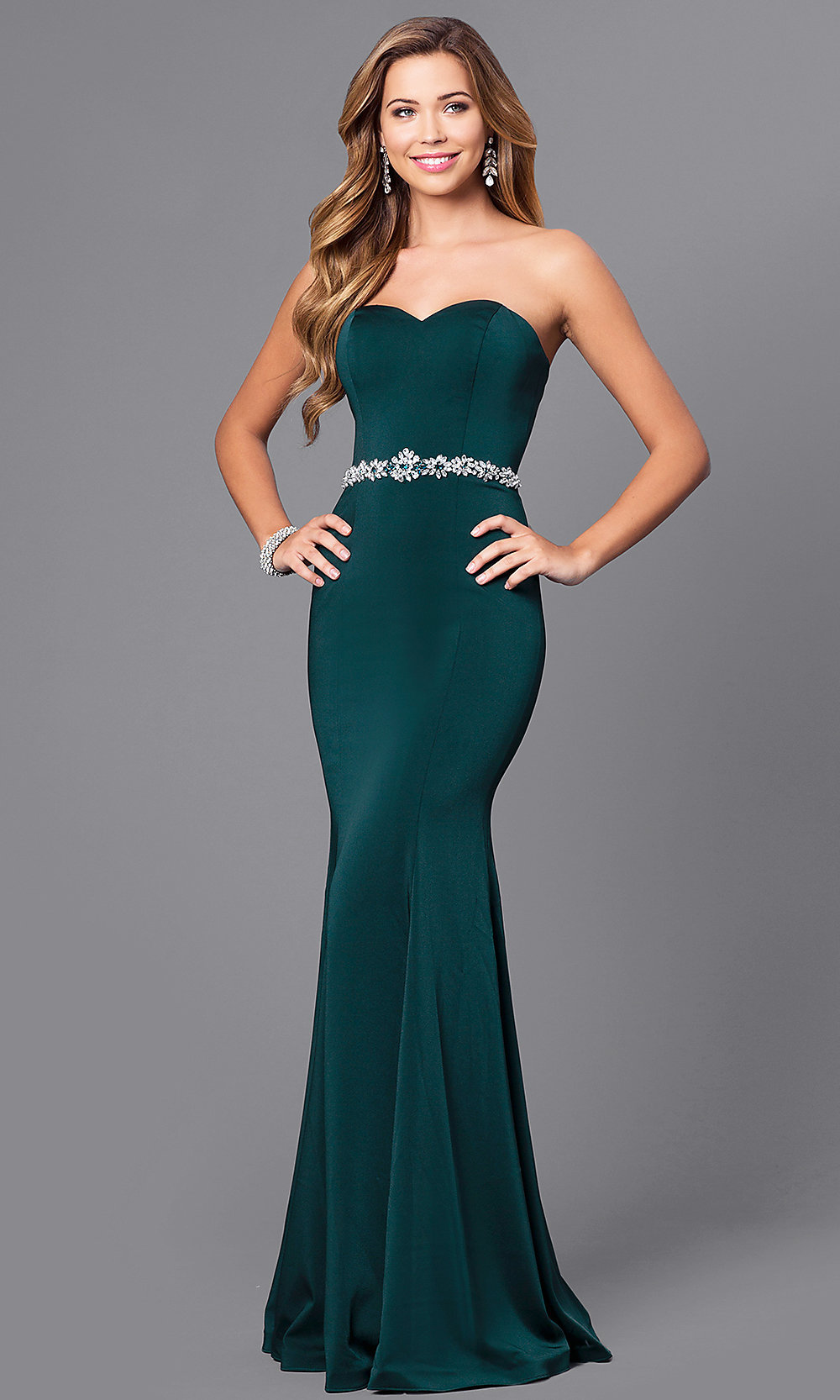 strapless jersey mermaid long prom dress  promgirl