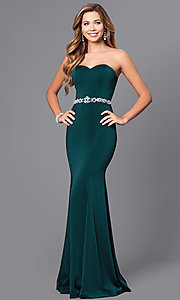 Image of strapless long mermaid prom dress with beaded waist. Style: DQ-9720 Detail Image 3