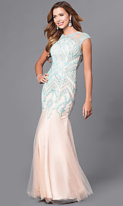 Long Prom Dress with Drop Waist and Beads