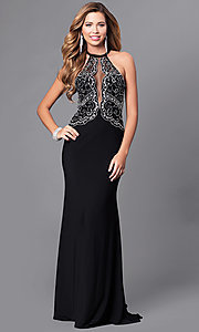 High Neck Beaded Bodice Long Prom Dress