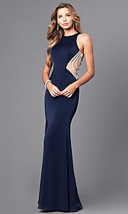 Long Racerback Prom Dress with Embellished Illusion