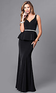 Image of long v-neck v-back prom dress with peplum. Style: DQ-9750 Detail Image 3