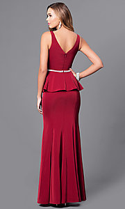 Image of long v-neck v-back prom dress with peplum. Style: DQ-9750 Back Image