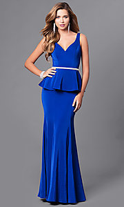 Image of long v-neck v-back prom dress with peplum. Style: DQ-9750 Detail Image 2