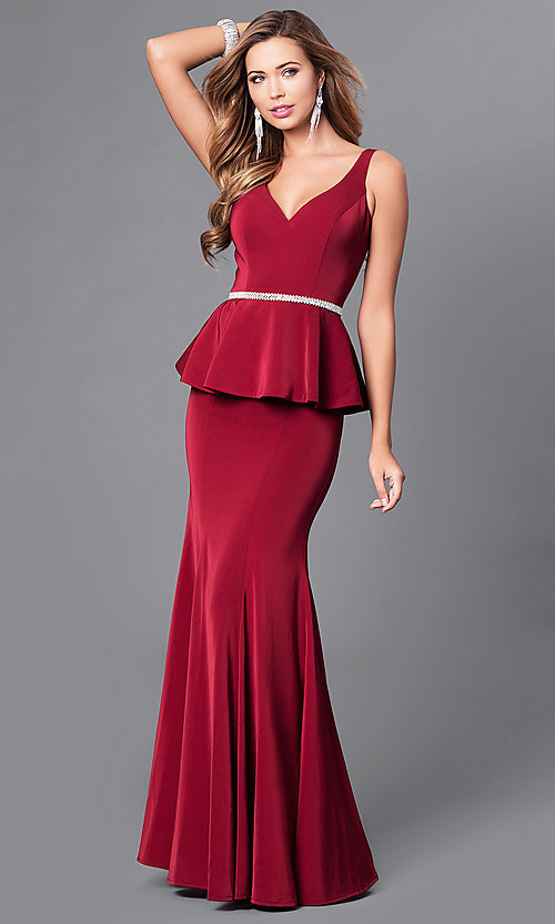 Image of long v-neck v-back prom dress with peplum. Style: DQ-9750 Front Image