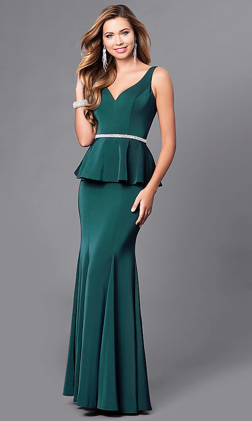 Image of long v-neck v-back prom dress with peplum. Style: DQ-9750 Detail Image 1