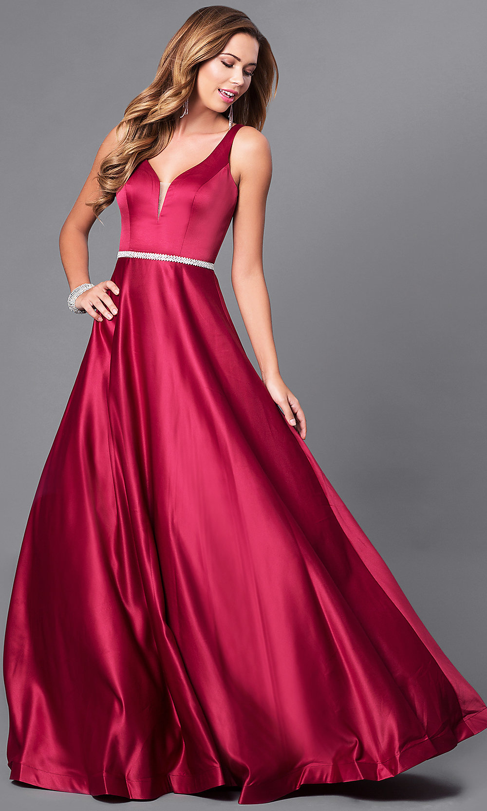 Classic Long V-Neck A-Line Satin Prom Dress-PromGirl