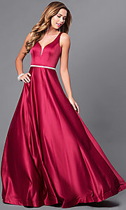 Classic Long Satin Prom Dress with V-Neckline