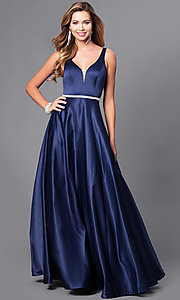 Image of classic long satin prom dress with v-neckline. Style: DQ-9754 Detail Image 2