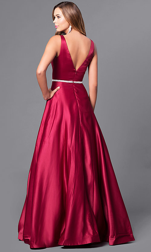 Image of classic long satin prom dress with v-neckline. Style: DQ-9754 Back Image