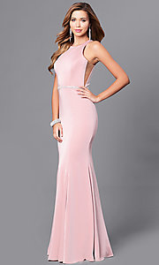 Image of long mermaid prom dress with racerback. Style: DQ-9757 Front Image