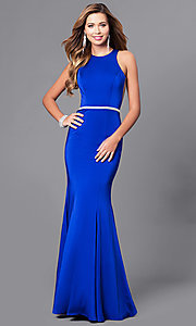 Image of long mermaid prom dress with racerback. Style: DQ-9757 Detail Image 2