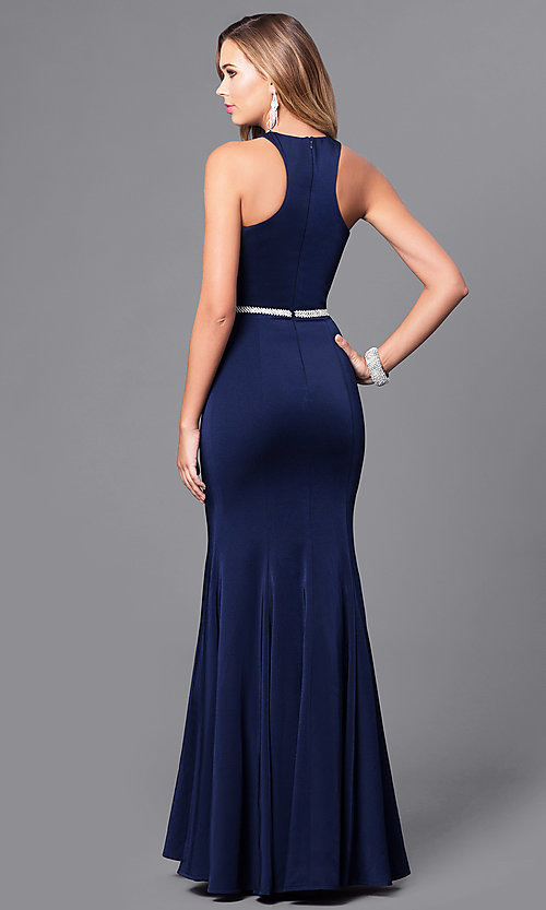 Image of long mermaid prom dress with racerback. Style: DQ-9757 Back Image