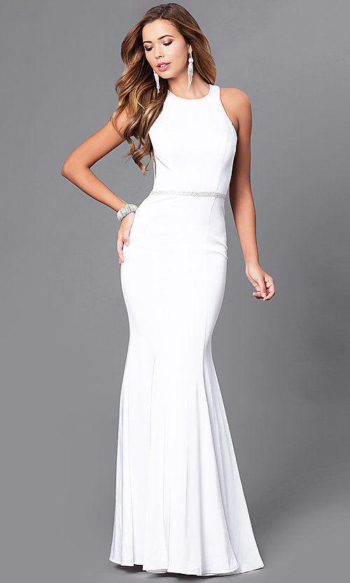 Image of long mermaid prom dress with racerback. Style: DQ-9757 Detail Image 1