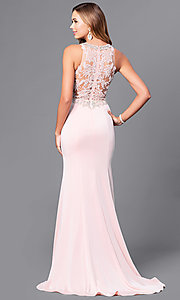 Image of long prom dress with beaded lace-applique bodice. Style: DQ-9763 Back Image