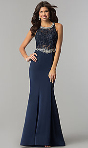 Image of long prom dress with beaded lace-applique bodice. Style: DQ-9763 Detail Image 3