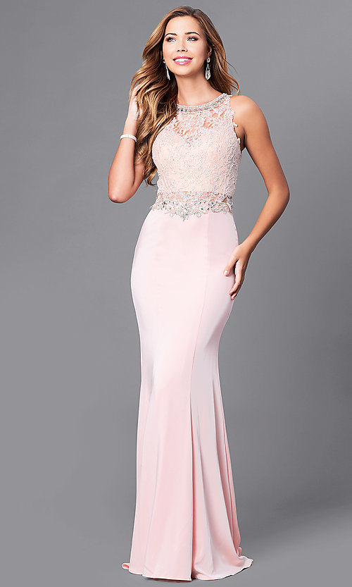 Image of long prom dress with beaded lace-applique bodice. Style: DQ-9763 Front Image
