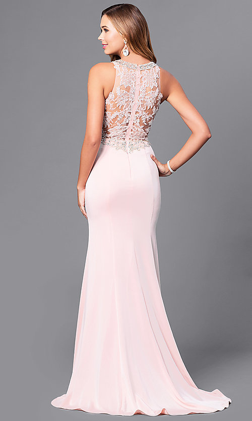 92e6ae6f36e Tap to expand · Image of long prom dress with beaded lace-applique bodice.  Style  DQ-