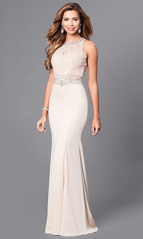 Image of long prom dress with beaded lace-applique bodice. Style: DQ-9763 Detail Image 2