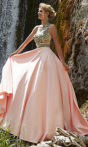 Long Mock Two Piece Sheer Back Prom Dress