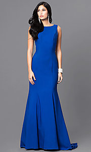 Long Royal Blue Prom Dress with Open Back