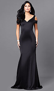 Long Black V-Neck Prom Dress with Cold Shoulders