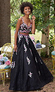 Embroidered Lace Two Piece Black Prom Dress