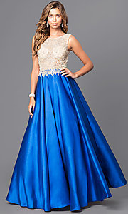 Beaded Illusion V-Back Bodice Long Prom Gown