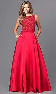 Image of long beaded-bodice satin prom gown with pockets. Style: JT-652 Detail Image 2