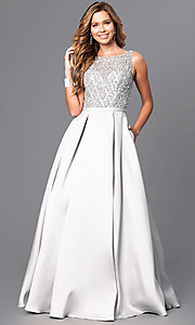 Image of long beaded-bodice satin prom gown with pockets. Style: JT-652 Front Image