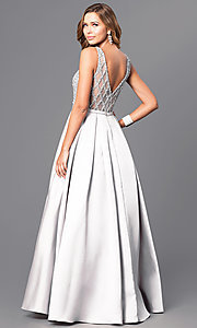Image of long beaded-bodice satin prom gown with pockets. Style: JT-652 Back Image