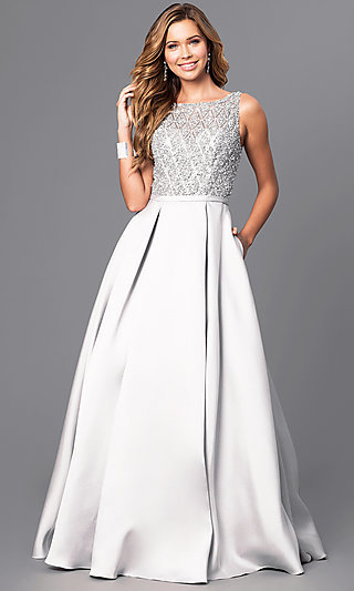 Jeweled-Bodice Long Prom Dress with Pockets-PromGirl