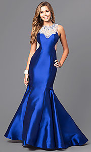 Beaded Yolk Long Mermaid Prom Dress