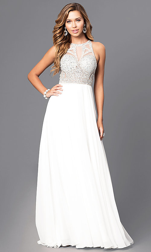 Image of long chiffon prom dress with jeweled bodice. Style: JT-602 Detail Image 2
