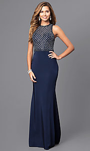 Image of long prom dress with beaded bodice and train. Style: JT-649 Front Image
