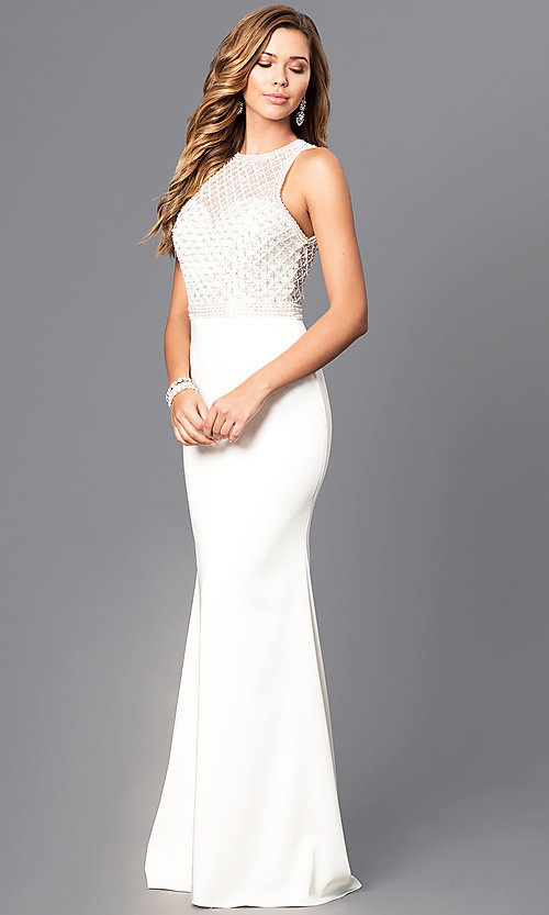 Image of long prom dress with beaded bodice and train. Style: JT-649 Detail Image 2