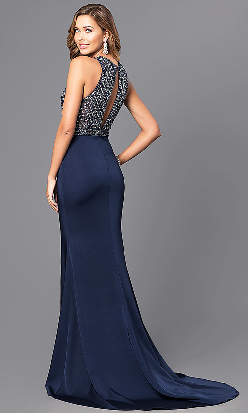 Image of long prom dress with beaded bodice and train. Style: JT-649 Back Image