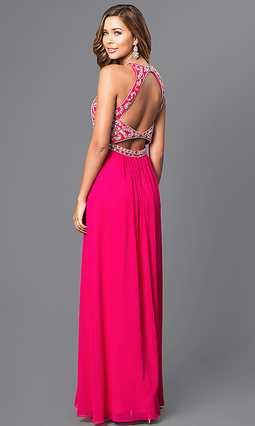 Image of long chiffon prom dress with beaded bodice. Style: JT-609 Back Image