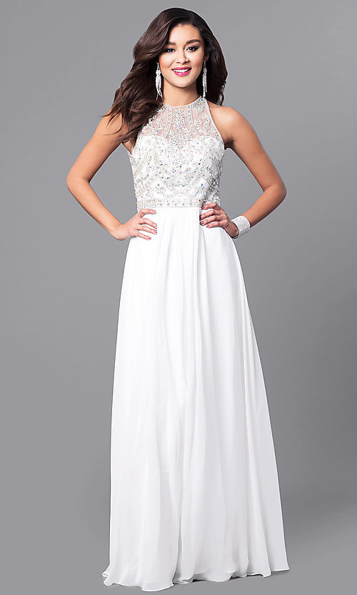 Image of long chiffon prom dress with beaded bodice. Style: JT-609 Detail Image 3