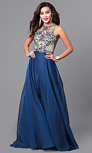 Illusion Sweetheart Beaded Bodice Long Prom Dress
