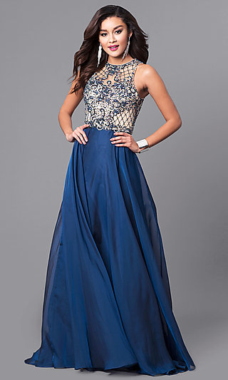 Illusion-Sweetheart Beaded-Bodice Long Prom Dress