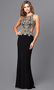 Image of jewel embellished long prom dress with cut-out back. Style: JT-632 Detail Image 1