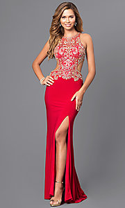 Image of jewel embellished long prom dress with cut-out back. Style: JT-632 Front Image