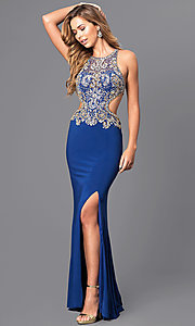 Image of jewel embellished long prom dress with cut-out back. Style: JT-632 Detail Image 3